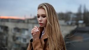 Face Portrait Hand Makeup Long Hair Mood 2560x1707 wallpaper
