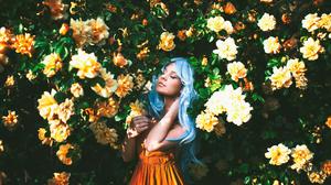 Blue Hair Flower Girl Model Mood Orange Dress Woman 2048x1365 Wallpaper