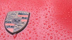 Car Logo Red Porsche Water Drops 6000x4000 Wallpaper