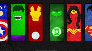 Spider Man Wolverine Captain America Hulk Iron Man Green Lantern Wonder Woman Superman Flash Batman 3840x1080 wallpaper