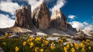 Summer Cloud Flower Alps Dolomites Cliff 5416x3611 Wallpaper