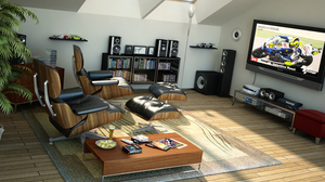 Chair Coffee Table Speakers Television 1500x900 Wallpaper