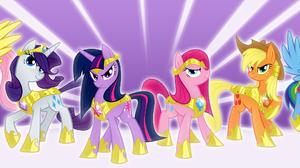 Applejack My Little Pony Fluttershy My Little Pony Pinkie Pie Rainbow Dash Rarity My Little Pony Twi 3000x1100 Wallpaper