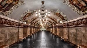 Chandelier Interior Moscow Russia Train Station Tunnel Underground 2000x1268 Wallpaper