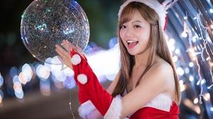 Woman Model Girl Christmas Bubble Depth Of Field Bokeh Smile Brunette 2048x1367 Wallpaper