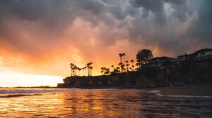Sunset Landscape Palm Trees Beach Waves Sea Foam 1638x2048 Wallpaper