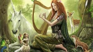Artistic Fairy Harp Unicorn Animal Tattoo Redhead Barefoot 3104x2407 Wallpaper