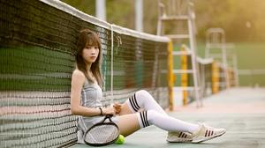 Women Model Asian Brunette Bangs Looking At Viewer Sitting Dress Tennis Rackets Tennis Tennis Courts 3840x2560 Wallpaper
