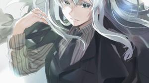 Re Zero Kara Hajimeru Isekai Seikatsu Alternate Costume Black Suit Hair Bows Hair In Face Striped Cl 1147x1620 Wallpaper
