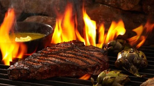 Barbecue Flame Meat Steak 1920x1280 Wallpaper