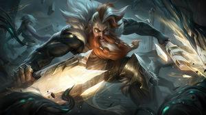 Olaf Olaf League Of Legends League Of Legends Riot Games Jungle Sentinel Viking Digital Art 4K 7680x4320 wallpaper