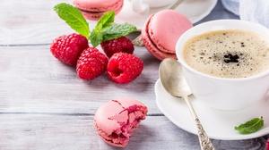 Coffee Cup Macaron Raspberry Still Life 5760x2304 Wallpaper
