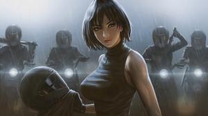 Women Original Characters Bangs Black Hair Rain Turtlenecks Black Clothing Motorcyclist Necklace Art 3840x2160 Wallpaper