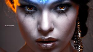 Arlamovsky Women Indoors Brown Eyes Retouching Photoshop Brunette Women Mistery Dark Lipstick Hair E 1327x2000 wallpaper