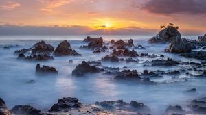 Nature Rock South Korea Horizon Sunrise 2100x1342 Wallpaper