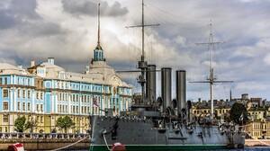 Ship Clouds Water Aurora St Petersburg Russia Building Shipyard Chains Flag City Battleships Old Bui 1920x1200 Wallpaper