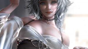 Nixeu Fantasy Art Fantasy Girl Artwork ArtStation Looking At Viewer Women Animal Ears Choker Painted 1033x1300 Wallpaper