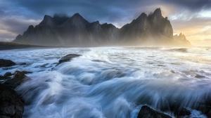 Nature Sunlight Rock Coast Sea Water Long Exposure Landscape 3840x2160 Wallpaper