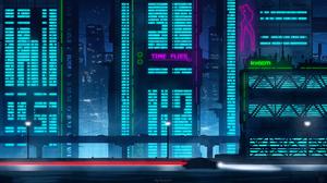 Digital Art Artwork Illustration Environment City City Lights Lights Neon Neon Lights Night Blue Red 3840x2160 Wallpaper