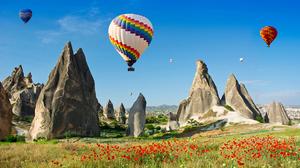 Hot Air Balloon Poppy Rock Sky Summer 4080x2300 Wallpaper