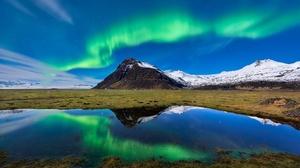 Aurora Borealis Light Mountain Nature Reflection 2048x1367 Wallpaper
