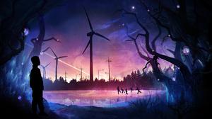 Family Windmill Artwork Digital Drawing Painting Photoshop T1na 2560x1440 Wallpaper