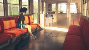Anime Anime Girls Bysau Train Dark Hair Sunlight Ponytail Black Shirt Guitar Looking Away 1500x1500 Wallpaper