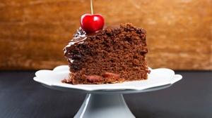 Cake Cherry Chocolate Dessert Pastry 8000x5505 Wallpaper