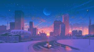 Artwork City Sunset Moon Stars Snow Winter 4096x2303 Wallpaper