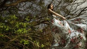 Asian Women Model Women Outdoors Outdoors Plants Dark Hair 2400x1360 Wallpaper