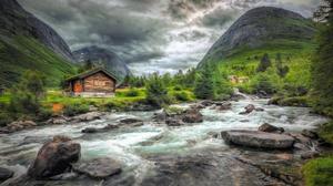 Cabin Mountain Norway River Stone 2048x1185 Wallpaper