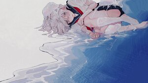 Anime Anime Girls Blonde Jellyfish Sea Short Hair White Eyes Looking At Viewer Sailor Uniform Socks  2221x1463 Wallpaper