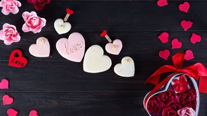 Cookie Flower Heart Shaped Love Pink Flower Pink Rose Red Flower Red Rose Ribbon Rose 6016x4016 Wallpaper