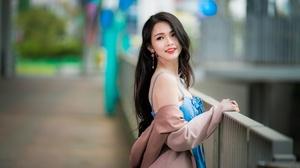 Asian Black Hair Depth Of Field Girl Lipstick Long Hair Model Woman 4500x3001 Wallpaper