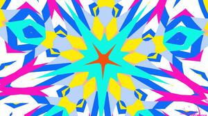 Abstract Artistic Blue Colors Digital Art Kaleidoscope Pattern Star 1920x1080 Wallpaper