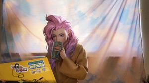 Anime Girls Artwork Piano Coffee Cup Digital Art Digital Painting Pink Hair Fan Art Women Young Woma 3561x2842 Wallpaper