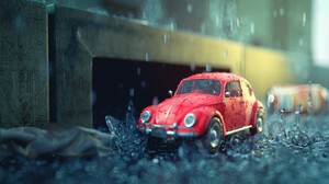 Tommi Rahko Car Volkswagen ArtStation Rain Vehicle Artwork Red Cars Macro 1920x1080 Wallpaper