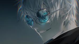 Satoru Gojo White Hair Blue Eyes Boy Glasses 3840x2160 Wallpaper