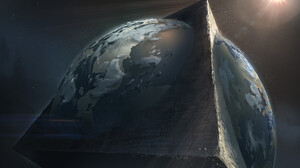 Denis Loebner Artwork Abstract Planet Pyramid Triangle Space 1920x1220 Wallpaper