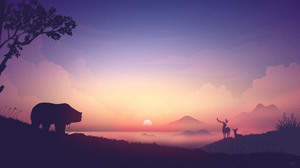 Artwork Bears Sunrise Nature Elk Deer Mountains Silhouette Pink Mist 7680x4320 Wallpaper