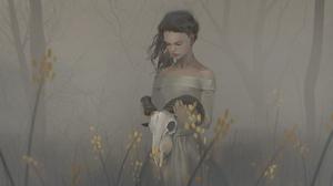 Digital Art Illustration Midfinger Original Characters Skull Mist Vertical 1827x3000 Wallpaper