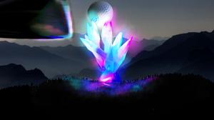 Golf Crystal Nature Mountain Top Golf Ball Pink Blue Reflection 2811x2345 Wallpaper
