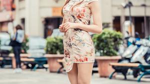 Asian Model Women Long Hair Dark Hair Flower Dress Flowerpot Plants Depth Of Field White High Heels  2560x3840 Wallpaper