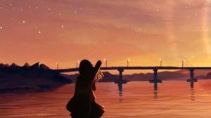 Sunset Anime Girls Silhouette Stars Hills Anime Instrument 1770x2532 Wallpaper