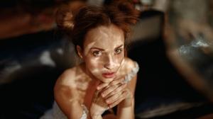 Women Model Face Looking At Viewer Women Indoors Indoors Alisa Schewtschenko High Angle Bare Shoulde 2000x1125 Wallpaper