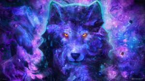 Yuliya Zabelina Digital Art Fantasy Art Wolf Space 1920x1080 Wallpaper