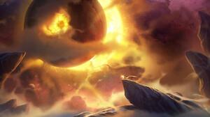 YH Wu Digital Art Fantasy Art Clouds Space 1920x866 Wallpaper