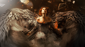 Angel Girl Orange Hair Wings Woman 3015x2430 wallpaper