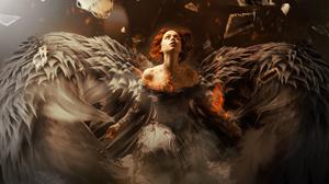 Angel Girl Orange Hair Wings Woman 3015x2430 Wallpaper