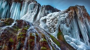 Ice Nature Waterfall Winter 2000x1335 Wallpaper